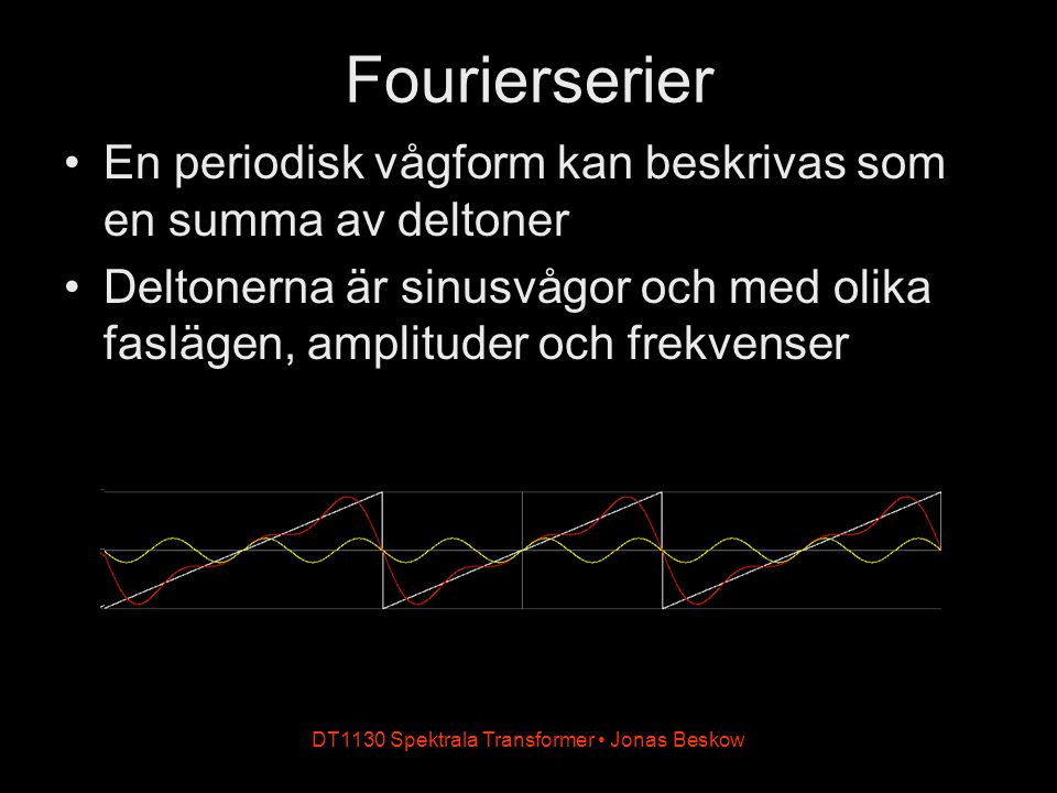 DT1130 Spektrala Transformer Jonas Beskow Fourierserier En periodisk vågform kan beskrivas som en summa av deltoner Deltonerna är sinusvågor och med olika faslägen, amplituder och frekvenser