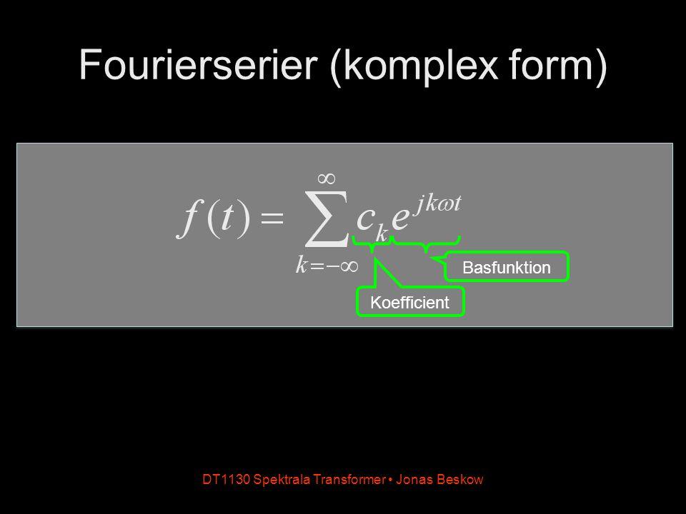 DT1130 Spektrala Transformer Jonas Beskow Fourierserier (komplex form) Koefficient Basfunktion