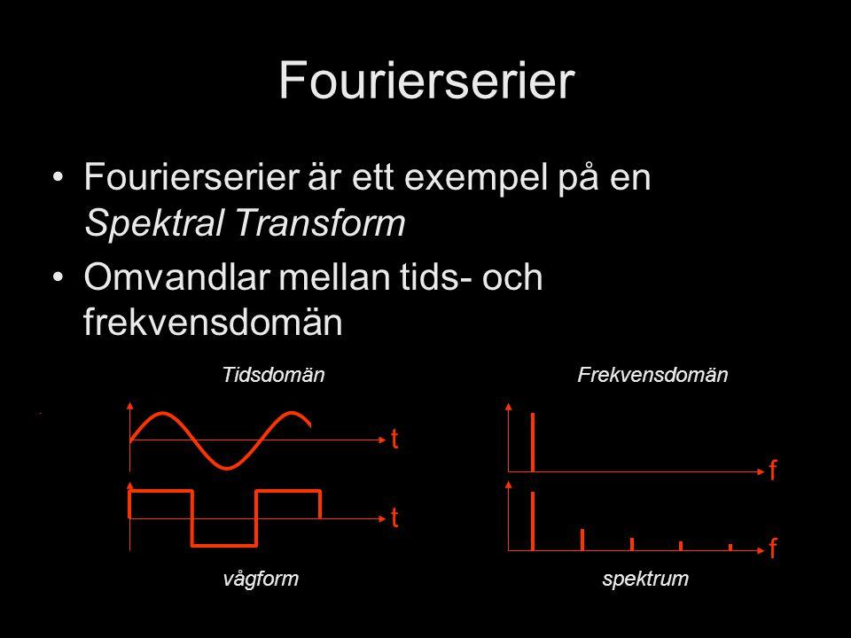 Fourierserier Fourierserier är ett exempel på en Spektral Transform Omvandlar mellan tids- och frekvensdomän TidsdomänFrekvensdomän t f t f spektrumvågform