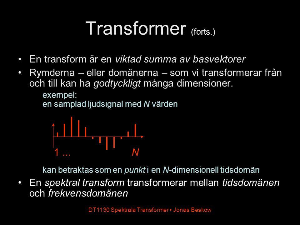 DT1130 Spektrala Transformer Jonas Beskow En transform är en viktad summa av basvektorer Rymderna – eller domänerna – som vi transformerar från och till kan ha godtyckligt många dimensioner.