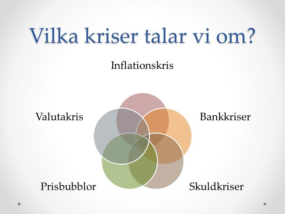 Vilka kriser talar vi om? Inflationskris Bankkriser Skuldkriser Prisbubblor Valutakris