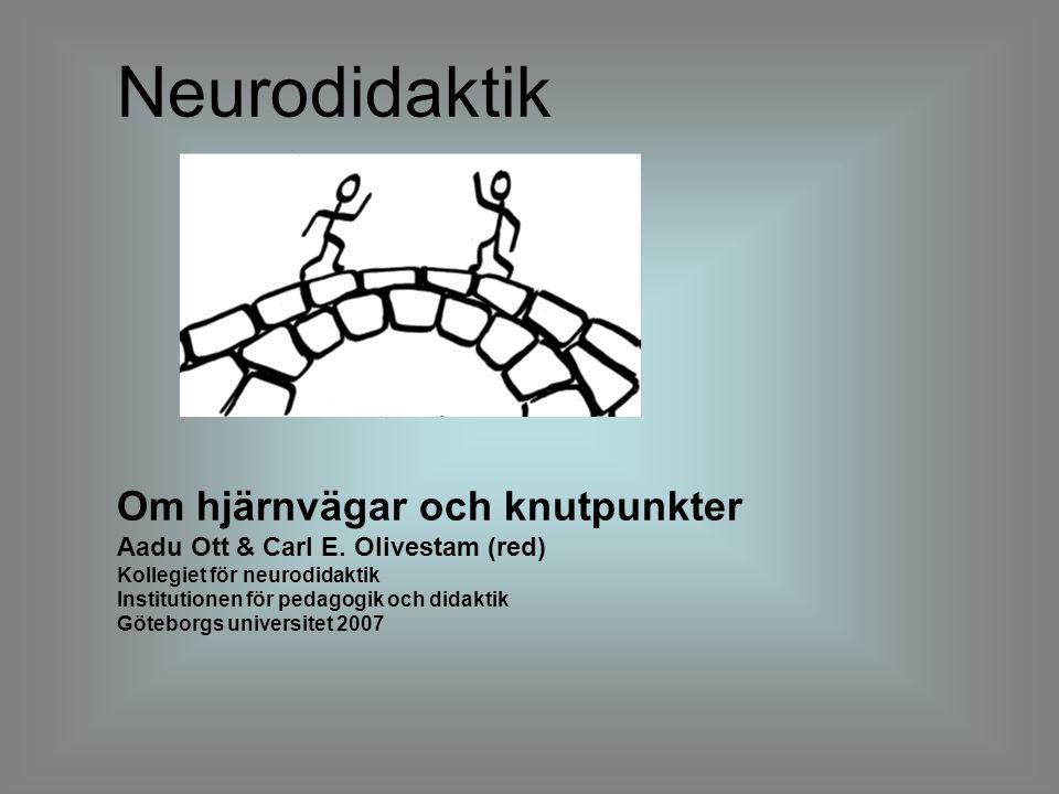 Neurodidaktik Om hjärnvägar och knutpunkter Aadu Ott & Carl E. Olivestam (red) Kollegiet för neurodidaktik Institutionen för pedagogik och didaktik Gö