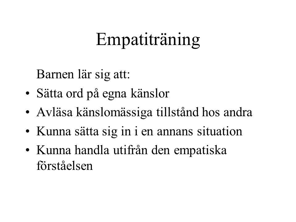 Empatiträning Barnen lär sig att: Sätta ord på egna känslor Avläsa känslomässiga tillstånd hos andra Kunna sätta sig in i en annans situation Kunna handla utifrån den empatiska förståelsen