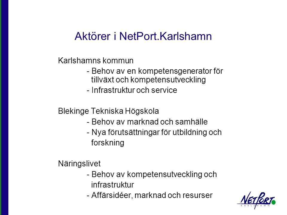 Vision NetPort.Karlshamn ska vara ett ledande kompetenscentrum med fokus på Media, Upplevelseindustri och Intelligent logistik.