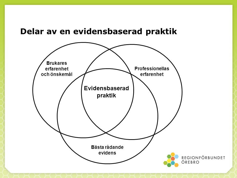 Kunskapssammanhanget Forskning Evidensbaserade metoder Evidensbaserad praktik Reflekterad erfarenhet Vardagskunskap