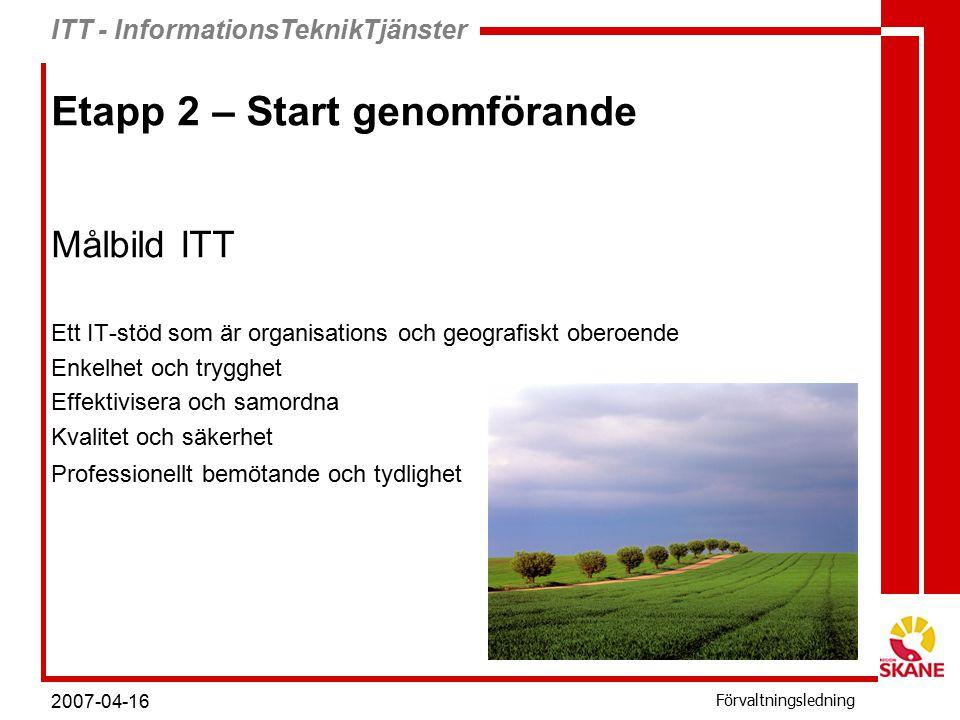 ITT - InformationsTeknikTjänster Förvaltningsledning 2007-04-16 Etapp 2 – Start genomförande Målbild ITT Ett IT-stöd som är organisations och geografiskt oberoende Enkelhet och trygghet Effektivisera och samordna Kvalitet och säkerhet Professionellt bemötande och tydlighet