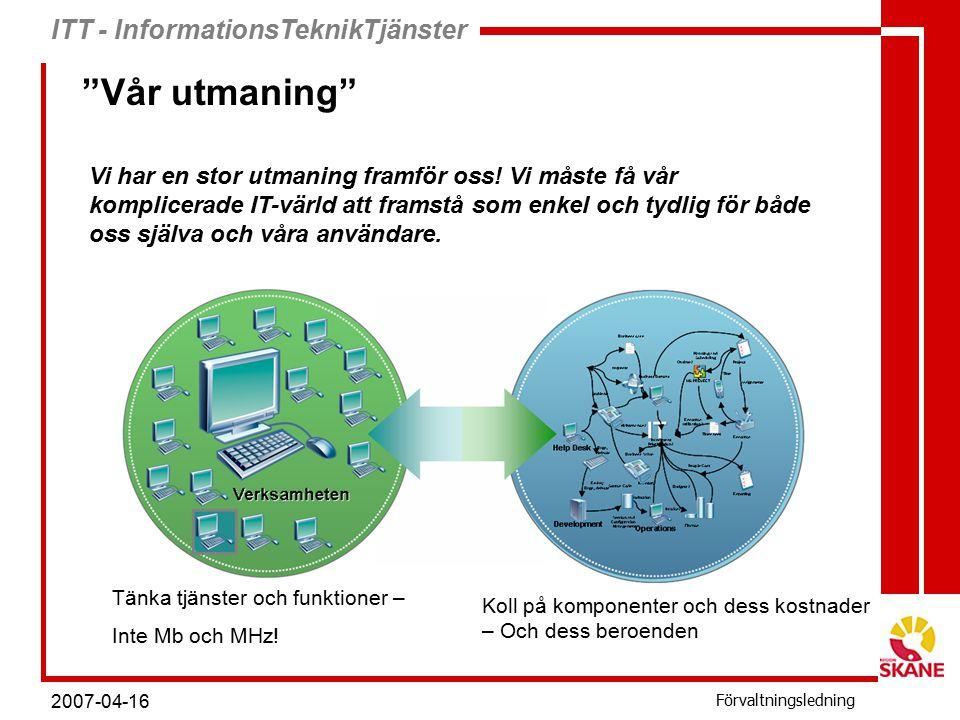 ITT - InformationsTeknikTjänster Förvaltningsledning 2007-04-16 Tre typer av standarddator Funktionssäkrad gemensam dator För användning i vårdmiljö, många olika användare Ingen möjlighet att ändra inställningar och funktioner Högsta möjliga tillgänglighet Har samma utseende oavsett geografisk placering Funktionssäkrad personlig dator För användning av ett fåtal användare Kontrollerad men ger viss frihet för personlig anpassning Hög tillgänglighet Egenansvars dator För användare med speciella behov Specialanpassad behörighet Kan installera applikationer och utrustning Endast garantier på grundinstallation