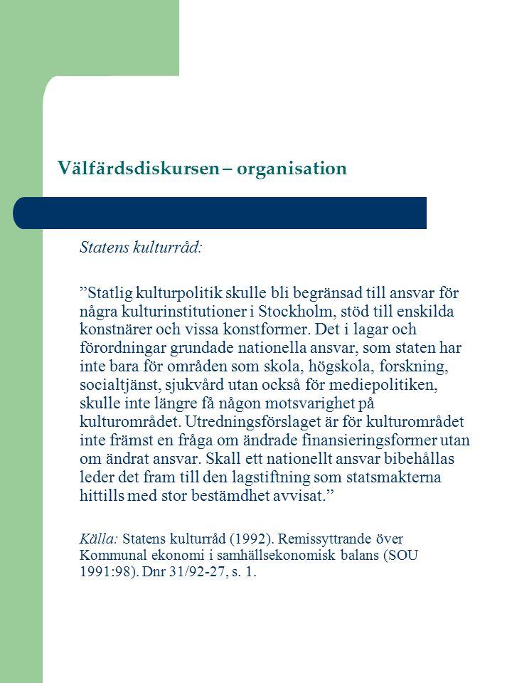 Välfärdsdiskursen – organisation Statens kulturråd: Statlig kulturpolitik skulle bli begränsad till ansvar för några kulturinstitutioner i Stockholm, stöd till enskilda konstnärer och vissa konstformer.