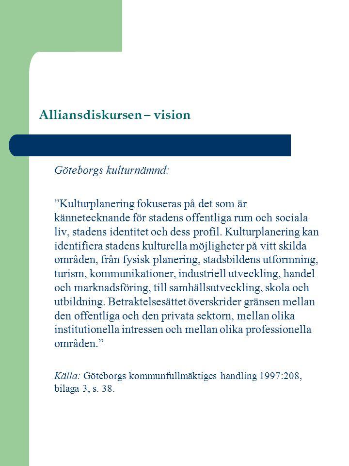 Alliansdiskursen – vision Göteborgs kulturnämnd: Kulturplanering fokuseras på det som är kännetecknande för stadens offentliga rum och sociala liv, stadens identitet och dess profil.