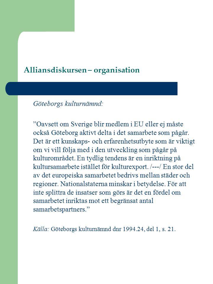 Alliansdiskursen – organisation Göteborgs kulturnämnd: Oavsett om Sverige blir medlem i EU eller ej måste också Göteborg aktivt delta i det samarbete som pågår.