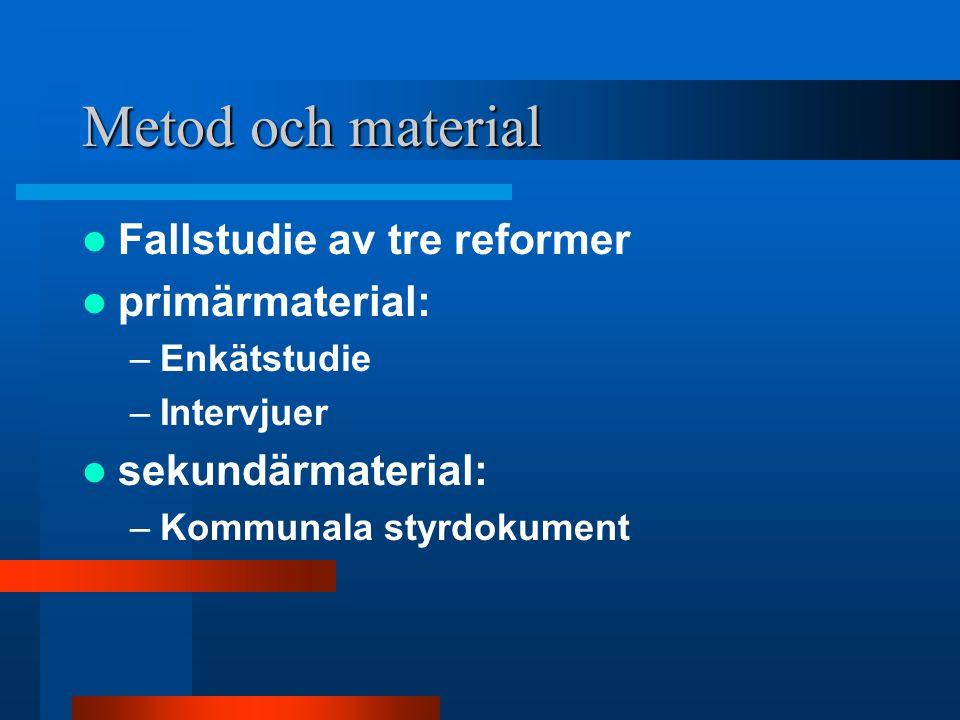 Metod och material Fallstudie av tre reformer primärmaterial: –Enkätstudie –Intervjuer sekundärmaterial: –Kommunala styrdokument