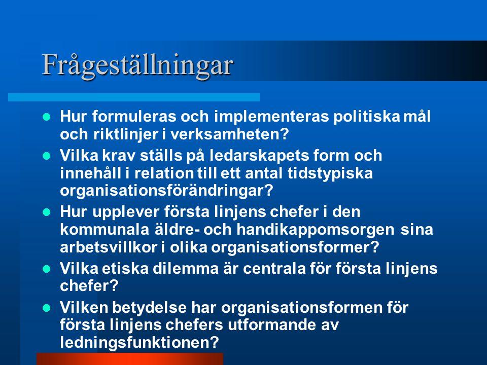 Frågeställningar Hur formuleras och implementeras politiska mål och riktlinjer i verksamheten? Vilka krav ställs på ledarskapets form och innehåll i r