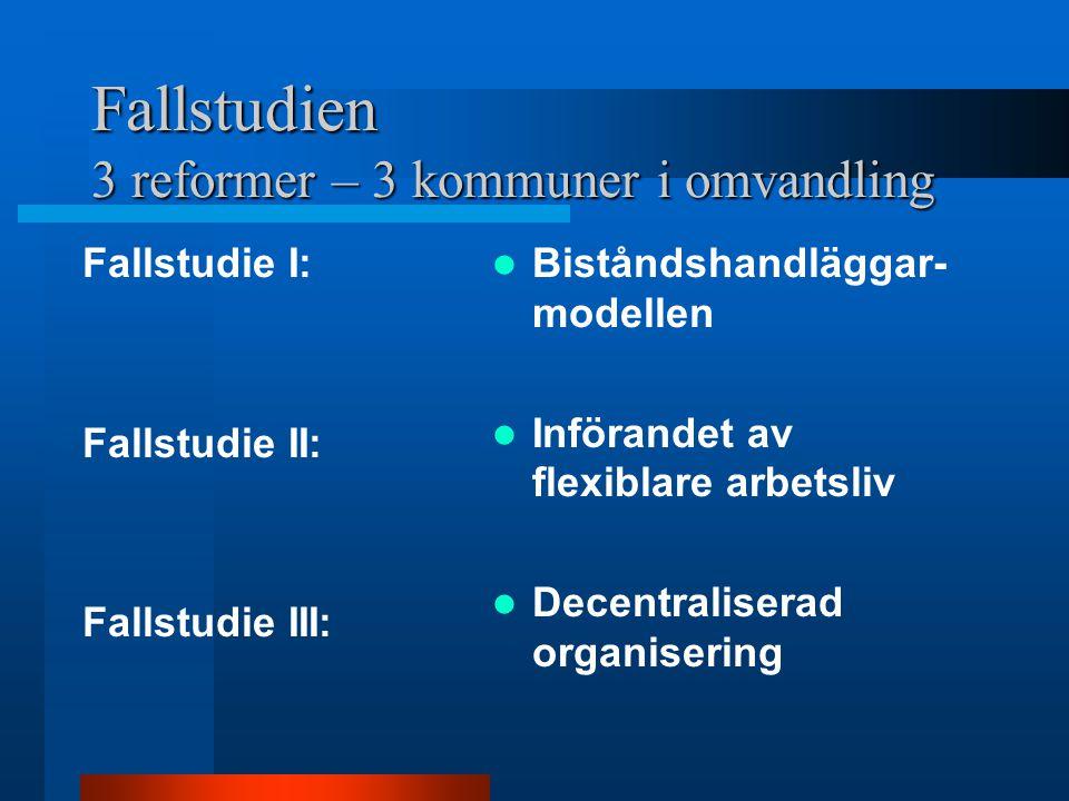 Fallstudien 3 reformer – 3 kommuner i omvandling Fallstudie I: Fallstudie II: Fallstudie III: Biståndshandläggar- modellen Införandet av flexiblare arbetsliv Decentraliserad organisering