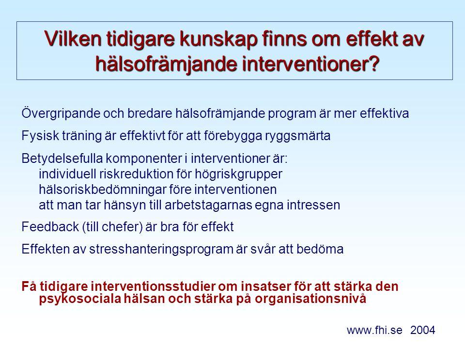 Vilken tidigare kunskap finns om effekt av hälsofrämjande interventioner.