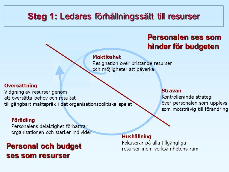 Steg 1: Ledares förhållningssätt till resurser Personalen ses som hinder för budgeten Personal och budget ses som resurser Strävan Kontrollerande strategi över personalen som upplevs som motsträvig till förändring Hushållning Fokuserar på alla tillgängliga resurser inom verksamhetens ram Förädling Personalens delaktighet förbättrar organisationen och stärker individer Maktlöshet Resignation över bristande resurser och möjligheter att påverka Översättning Vidgning av resurser genom att översätta behov och resultat till gångbart maktspråk i det organisationspolitiska spelet