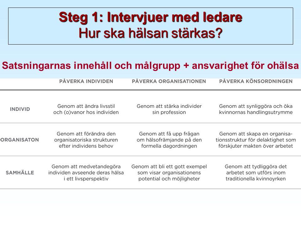 Steg 1: Intervjuer med ledare Hur ska hälsan stärkas.