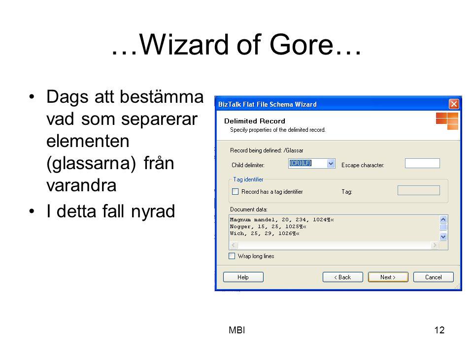 MBl12 …Wizard of Gore… Dags att bestämma vad som separerar elementen (glassarna) från varandra I detta fall nyrad