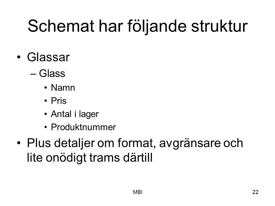 MBl22 Schemat har följande struktur Glassar –Glass Namn Pris Antal i lager Produktnummer Plus detaljer om format, avgränsare och lite onödigt trams dä