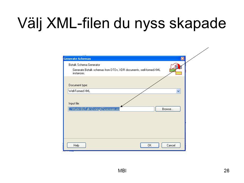 MBl26 Välj XML-filen du nyss skapade