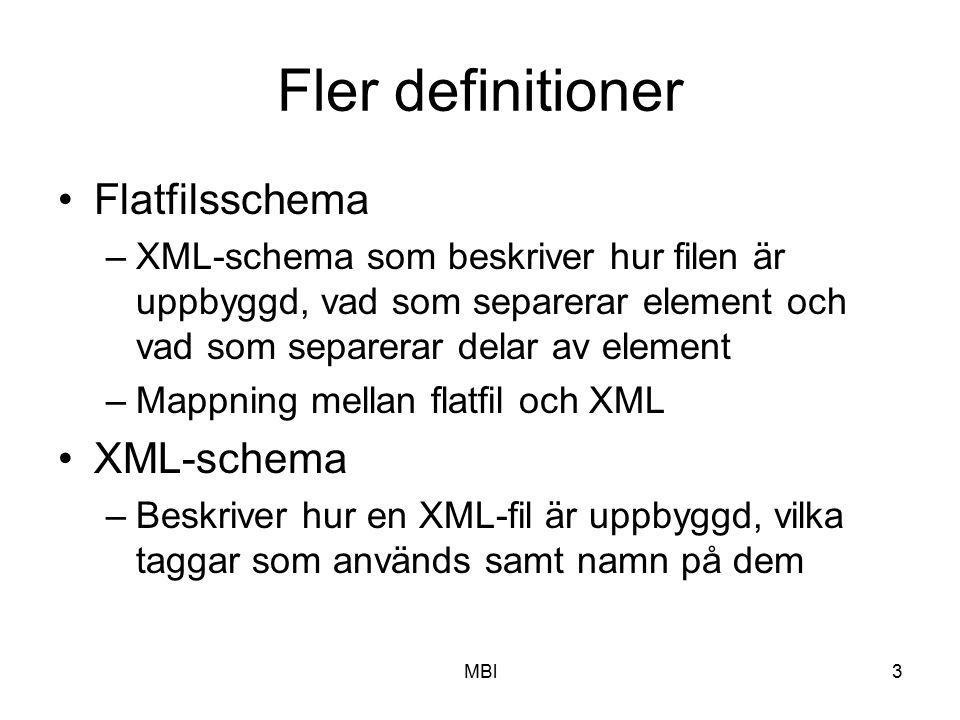 MBl3 Fler definitioner Flatfilsschema –XML-schema som beskriver hur filen är uppbyggd, vad som separerar element och vad som separerar delar av elemen