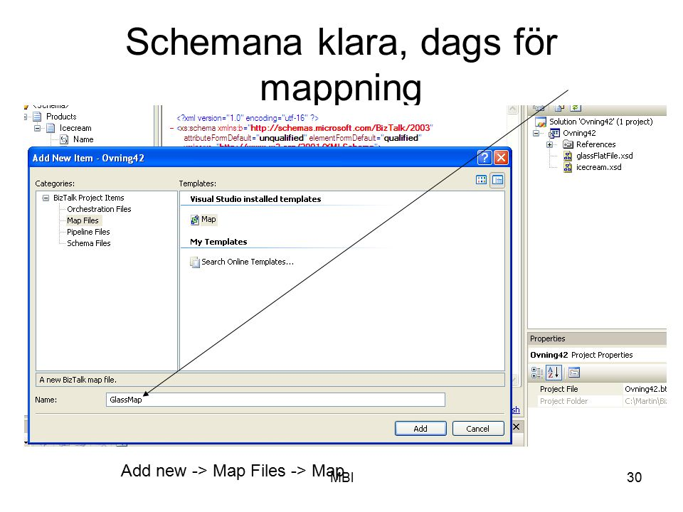 MBl30 Schemana klara, dags för mappning Add new -> Map Files -> Map