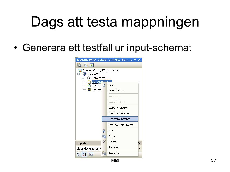 MBl37 Dags att testa mappningen Generera ett testfall ur input-schemat