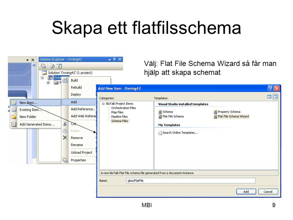 MBl9 Skapa ett flatfilsschema Välj: Flat File Schema Wizard så får man hjälp att skapa schemat
