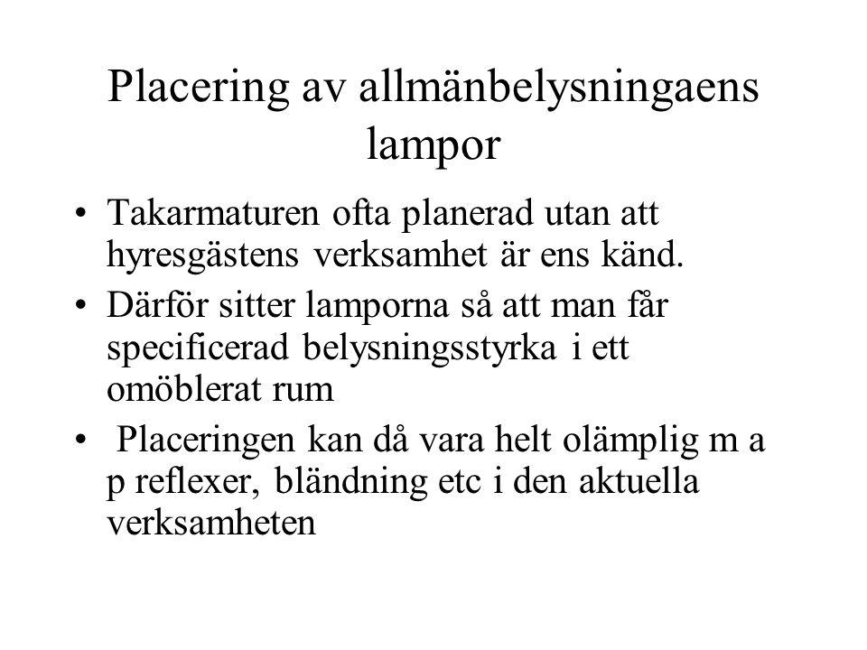Placering av allmänbelysningaens lampor Takarmaturen ofta planerad utan att hyresgästens verksamhet är ens känd. Därför sitter lamporna så att man får