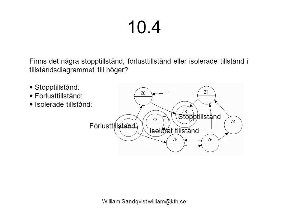 William Sandqvist william@kth.se 10.4 Finns det några stopptillstånd, förlusttillstånd eller isolerade tillstånd i tillståndsdiagrammet till höger? 
