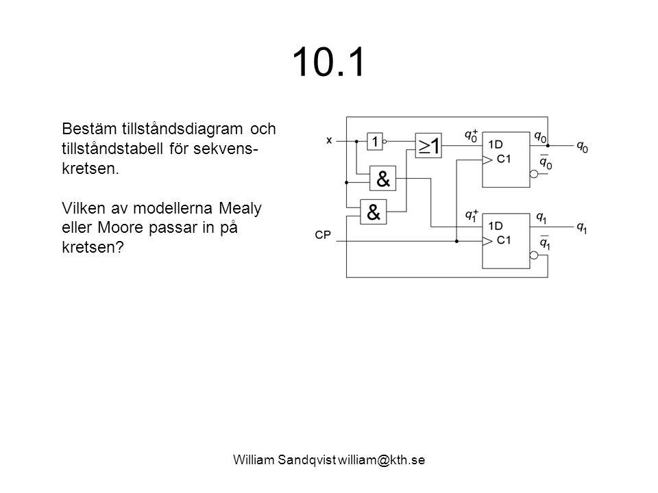 William Sandqvist william@kth.se 10.1 Bestäm tillståndsdiagram och tillståndstabell för sekvens- kretsen. Vilken av modellerna Mealy eller Moore passa