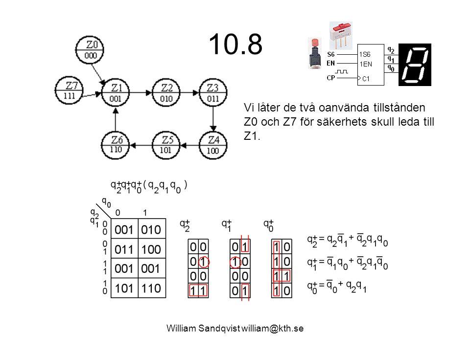 William Sandqvist william@kth.se 10.8 Vi låter de två oanvända tillstånden Z0 och Z7 för säkerhets skull leda till Z1.