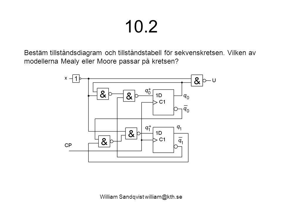 William Sandqvist william@kth.se 10.2 Bestäm tillståndsdiagram och tillståndstabell för sekvenskretsen. Vilken av modellerna Mealy eller Moore passar