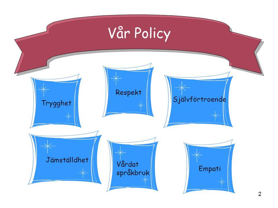 2 Vår Policy Trygghet Vårdat språkbruk Empati Respekt Självförtroende Jämställdhet