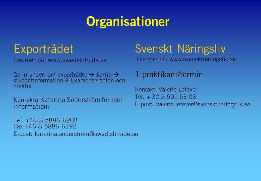 Organisationer Exportrådet Läs mer på: www.swedishtrade.se Gå in under: om exportrådet  karriär  studentinformation  Examensarbeten-och- praktik Kontakta Katarina Söderström för mer information: Tel.
