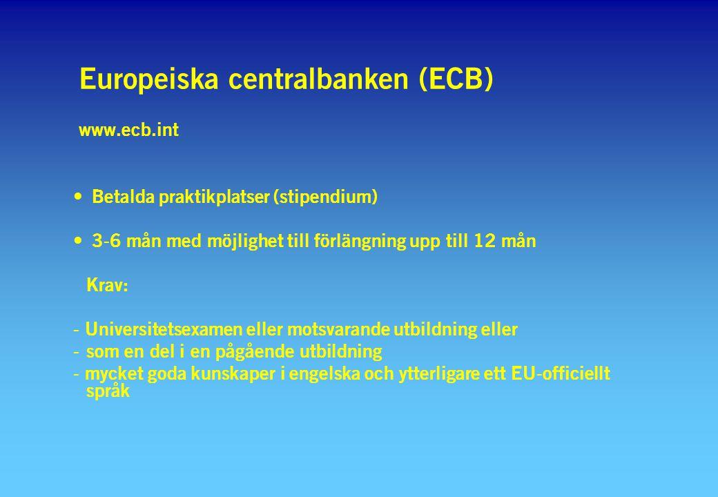 Europeiska centralbanken (ECB) www.ecb.int Betalda praktikplatser (stipendium) 3-6 mån med möjlighet till förlängning upp till 12 mån Krav: - Universitetsexamen eller motsvarande utbildning eller - som en del i en pågående utbildning - mycket goda kunskaper i engelska och ytterligare ett EU-officiellt språk