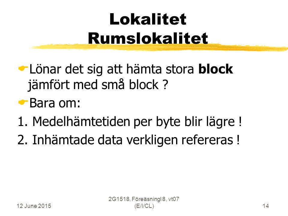 12 June 2015 2G1518, Föreäsningl 8, vt07 (E/I/CL)14 Lokalitet Rumslokalitet  Lönar det sig att hämta stora block jämfört med små block .