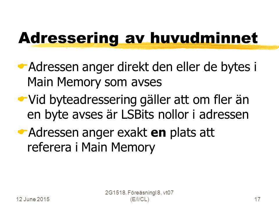 12 June 2015 2G1518, Föreäsningl 8, vt07 (E/I/CL)17 Adressering av huvudminnet  Adressen anger direkt den eller de bytes i Main Memory som avses  Vid byteadressering gäller att om fler än en byte avses är LSBits nollor i adressen  Adressen anger exakt en plats att referera i Main Memory