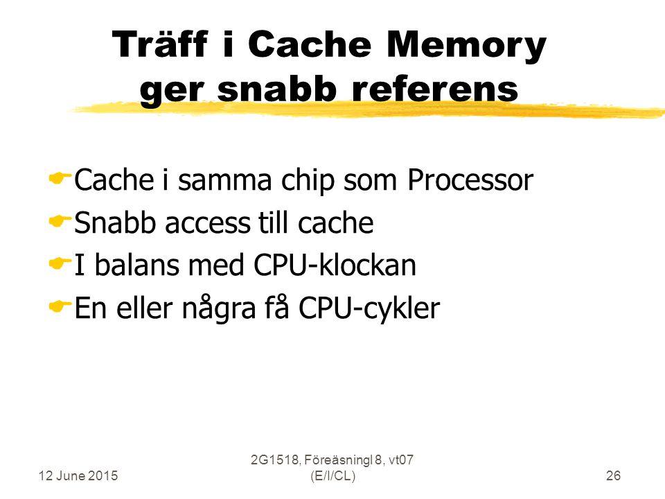 12 June 2015 2G1518, Föreäsningl 8, vt07 (E/I/CL)26 Träff i Cache Memory ger snabb referens  Cache i samma chip som Processor  Snabb access till cache  I balans med CPU-klockan  En eller några få CPU-cykler