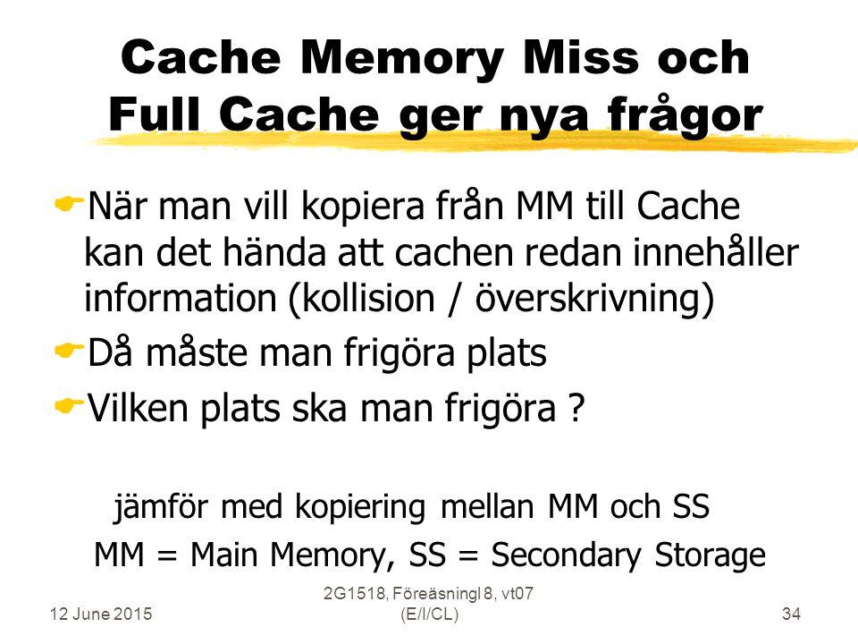 12 June 2015 2G1518, Föreäsningl 8, vt07 (E/I/CL)34  När man vill kopiera från MM till Cache kan det hända att cachen redan innehåller information (kollision / överskrivning)  Då måste man frigöra plats  Vilken plats ska man frigöra .