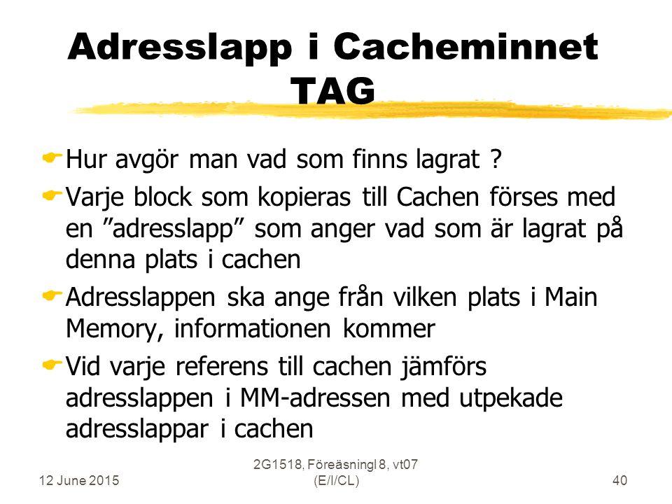 12 June 2015 2G1518, Föreäsningl 8, vt07 (E/I/CL)40 Adresslapp i Cacheminnet TAG  Hur avgör man vad som finns lagrat .