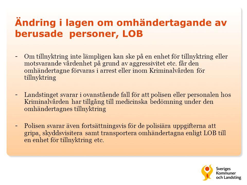 Ändring i lagen om omhändertagande av berusade personer, LOB - Om tillnyktring inte lämpligen kan ske på en enhet för tillnyktring eller motsvarande vårdenhet på grund av aggressivitet etc.