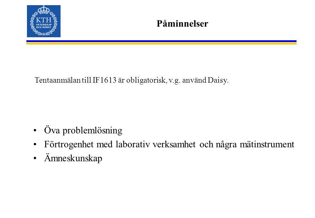 Påminnelser Öva problemlösning Förtrogenhet med laborativ verksamhet och några mätinstrument Ämneskunskap Tentaanmälan till IF1613 är obligatorisk, v.