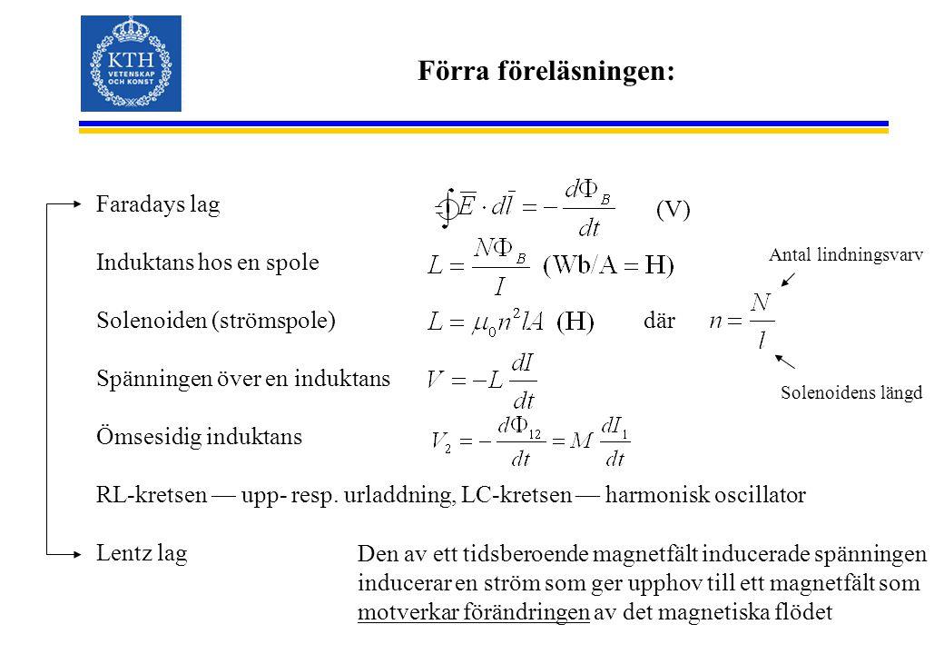 Förra föreläsningen: Faradays lag Induktans hos en spole Solenoiden (strömspole) Spänningen över en induktans Ömsesidig induktans RL-kretsen — upp- resp.