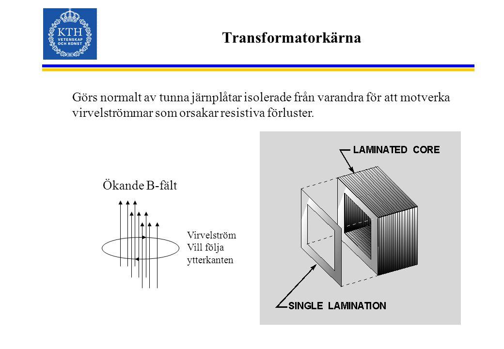 Transformatorkärna Görs normalt av tunna järnplåtar isolerade från varandra för att motverka virvelströmmar som orsakar resistiva förluster.