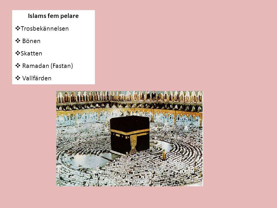 1.Trosbekännelsen Det finns ingen gud förutom Gud och Mohammed är Guds profet .