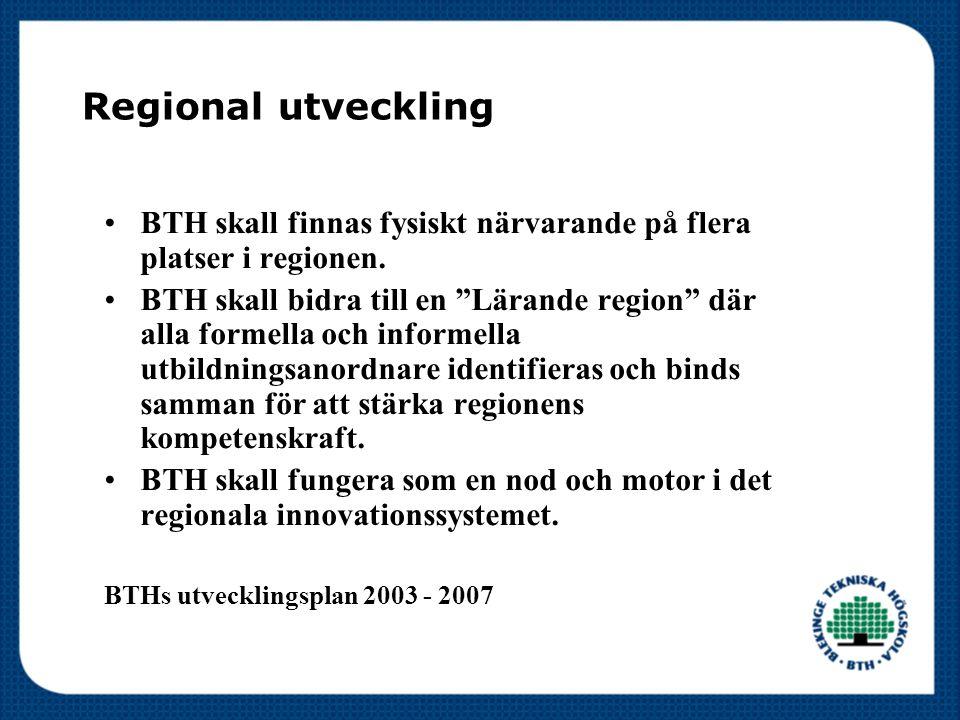 """Regional utveckling BTH skall finnas fysiskt närvarande på flera platser i regionen. BTH skall bidra till en """"Lärande region"""" där alla formella och in"""