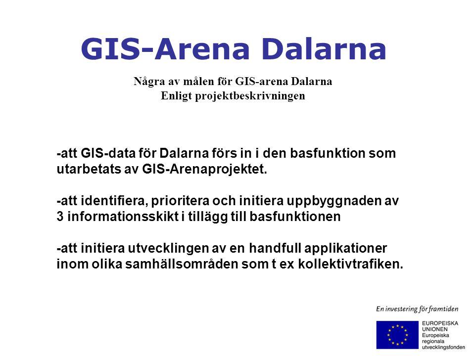 Några av målen för GIS-arena Dalarna Enligt projektbeskrivningen -att GIS-data för Dalarna förs in i den basfunktion som utarbetats av GIS-Arenaprojek