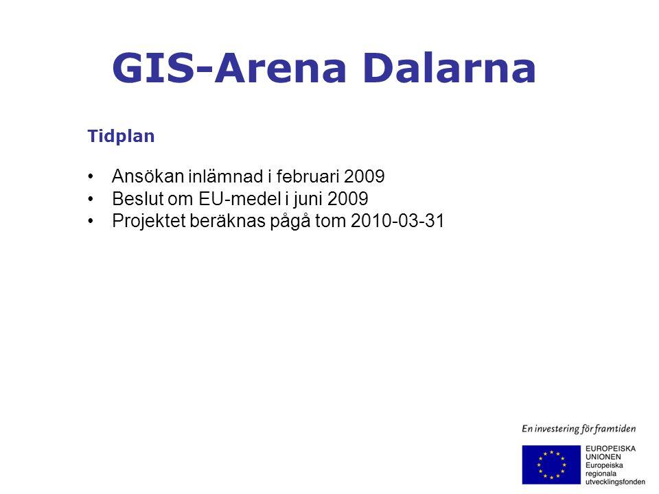 GIS-Arena Dalarna Tidplan Ansökan inlämnad i februari 2009 Beslut om EU-medel i juni 2009 Projektet beräknas pågå tom 2010-03-31