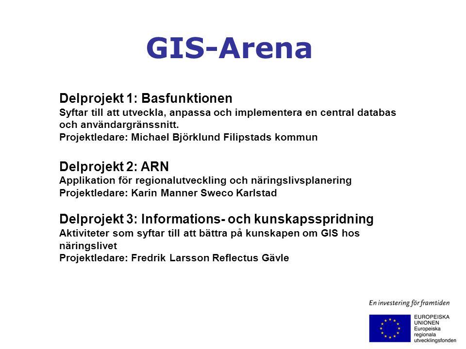 GIS-Arena Delprojekt 1: Basfunktionen Syftar till att utveckla, anpassa och implementera en central databas och användargränssnitt. Projektledare: Mic