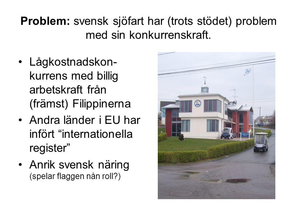 Problem: svensk sjöfart har (trots stödet) problem med sin konkurrenskraft. Lågkostnadskon- kurrens med billig arbetskraft från (främst) Filippinerna